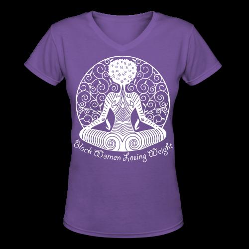 Yogi - White Text/V Neck Shirt - Women's V-Neck T-Shirt