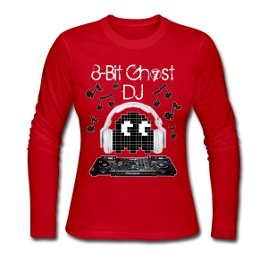 8-Bit Ghost DJ - Women's Long Sleeve Jersey T-Shirt