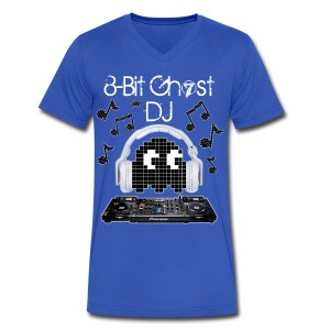 8-Bit Ghost DJ - Men's V-Neck T-Shirt by Canvas