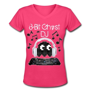 8-Bit Ghost DJ - Women's V-Neck T-Shirt