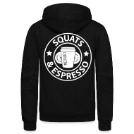 Zip Hoodies & Jackets ~ Unisex Fleece Zip Hoodie by American Apparel ~ Squats and Espresso Logo Womens Hoodie