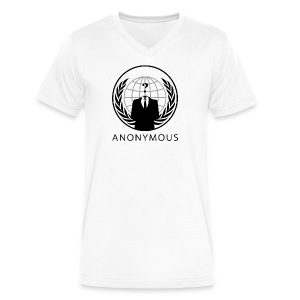 Anonymous 1 - Black - Men's V-Neck T-Shirt by Canvas