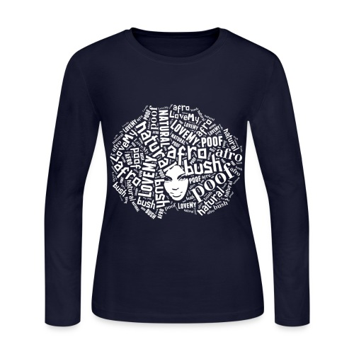 Love My Natural Afro. Poof. Fro.  - Women's Long Sleeve Jersey T-Shirt