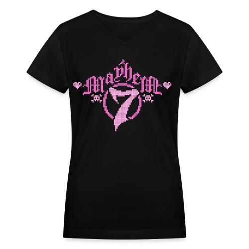 MayheM-7 - Pixel 1 P - Women's V-Neck T-Shirt