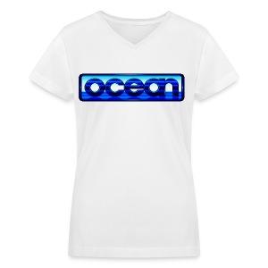 Ocean Logo - Women's V-Neck T-Shirt