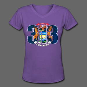313 Area Code - Women's V-Neck T-Shirt