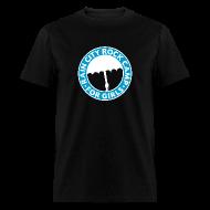 T-Shirts ~ Men's T-Shirt ~ Tee: Turquoise Logo on Black (Men's Cut)