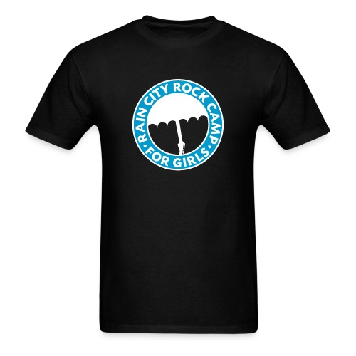 Tee: Turquoise Logo on Black (Men's Cut) - Men's T-Shirt