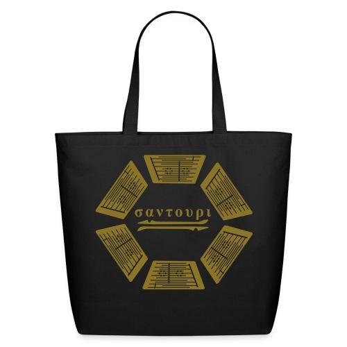 tote - santouri circle - metallic gold on black - Eco-Friendly Cotton Tote