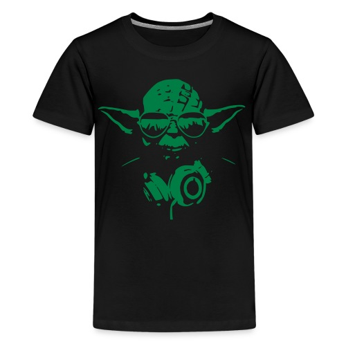 black/green yoda headphones/glasses mens shirt - Kids' Premium T-Shirt