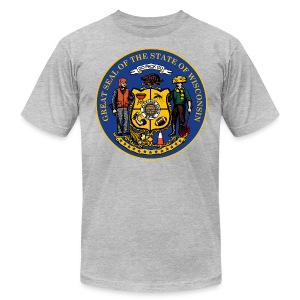 NEW WISCONSIN STATE SEAL - Men's T-Shirt by American Apparel