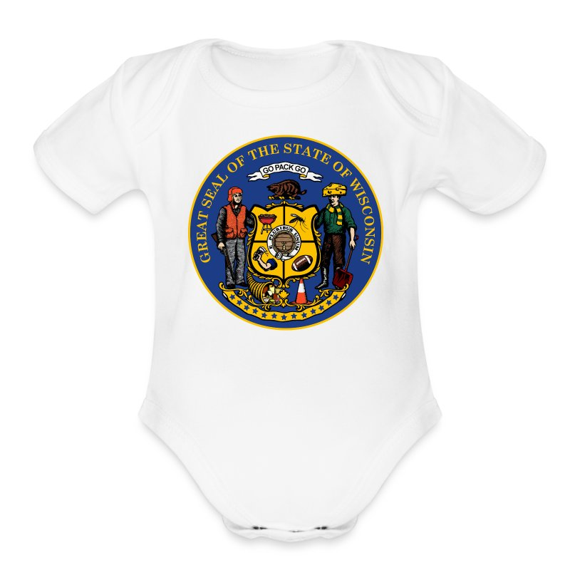 NEW WISCONSIN STATE SEAL - Short Sleeve Baby Bodysuit
