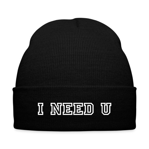 I Need U Beanie - Knit Cap with Cuff Print