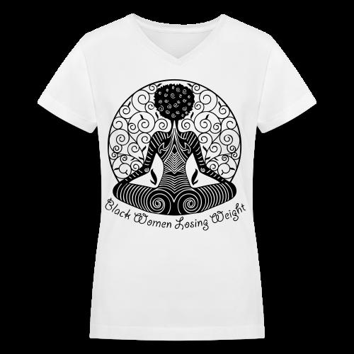Yogi - Dark Text/V Neck Shirt - Women's V-Neck T-Shirt