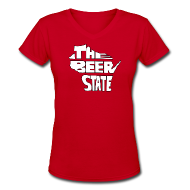 Women's T-Shirts ~ Women's V-Neck T-Shirt ~ The Beer State (White)