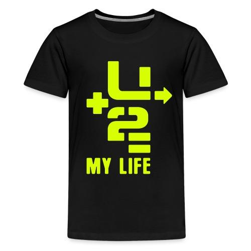 U+2=MY LIFE - back+front neon/glow - xs/l kids - Kids' Premium T-Shirt