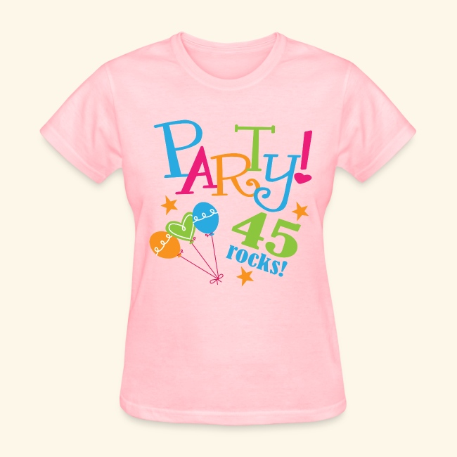 45th Birthday Party 45 Rocks Womens T Shirt