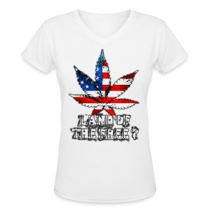 Land of the Free - Women's V-Neck T-Shirt