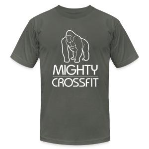 Mighty Tee - White on Dark Gray (Mens) - Men's Fine Jersey T-Shirt