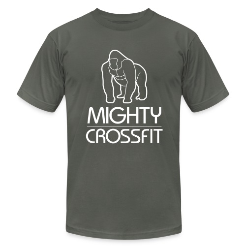 Mighty Tee - White on Dark Gray (Mens) - Men's Fine Jersey T-Shirt