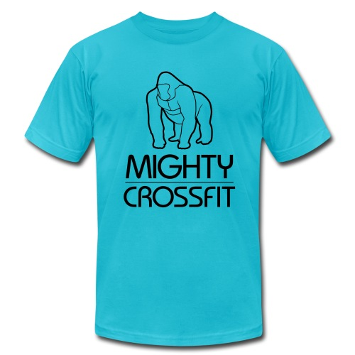 Mighty Tee - Black on Teal (Mens) - Men's Fine Jersey T-Shirt