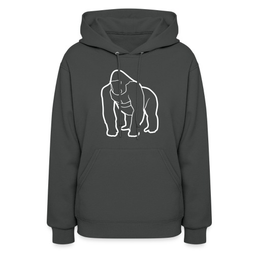 Mighty Hoodie - White on Dark Gray (Womens) - Women's Hoodie