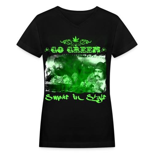 Go Green 3 - Women's V-Neck T-Shirt
