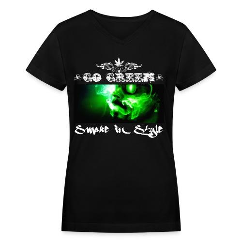 Go Green 5 - Women's V-Neck T-Shirt