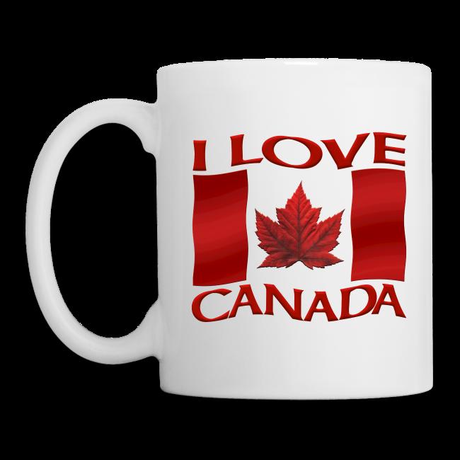 I Love Canada Souvenir Cups Red Canada Flag Mugs