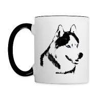 Mugs & Drinkware ~ Contrast Coffee Mug ~ HUsky Cups Sled Dog Mugs Siberian Husky Coffee Cups