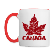 Mugs & Drinkware ~ Contrast Coffee Mug ~ Canada Souvenir Cups Cool Canada Maple Leaf Mugs