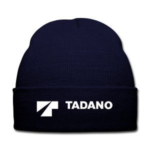 Navy knit hat with white tadano logo - Knit Cap with Cuff Print