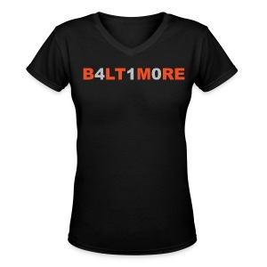 Baltimore 410- Black v-neck - Women's V-Neck T-Shirt