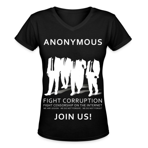 Anonymous 3 - White - Women's V-Neck T-Shirt