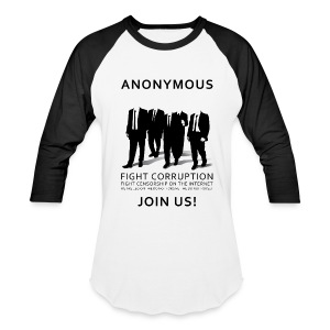 Anonymous 3 - Black - Baseball T-Shirt