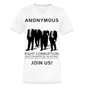 Anonymous 3 - Black - Men's V-Neck T-Shirt by Canvas