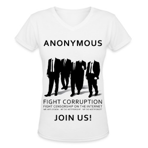 Anonymous 3 - Black - Women's V-Neck T-Shirt
