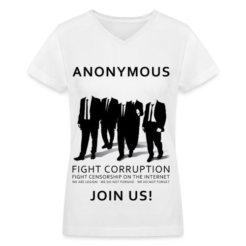 Anonymous 3 - Black - Women's V-Neck T-Shirt