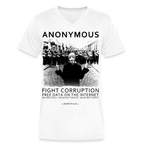 Anonymous 4 - Men's V-Neck T-Shirt by Canvas