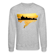 Long Sleeve Shirts ~ Men's Crewneck Sweatshirt ~ Detroit Skyline River