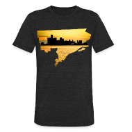 T-Shirts ~ Unisex Tri-Blend T-Shirt by American Apparel ~ Detroit Skyline River