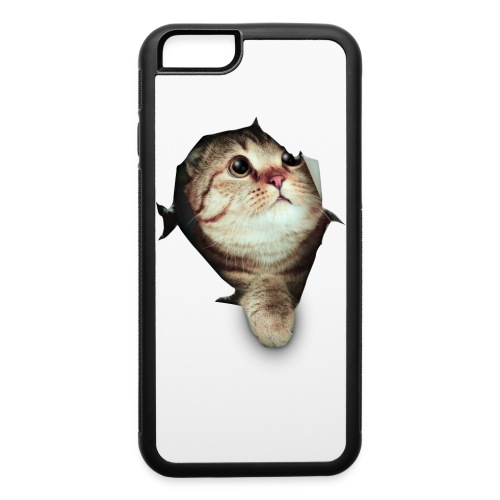 Cute cat breaking through - iPhone 6/6s Rubber Case