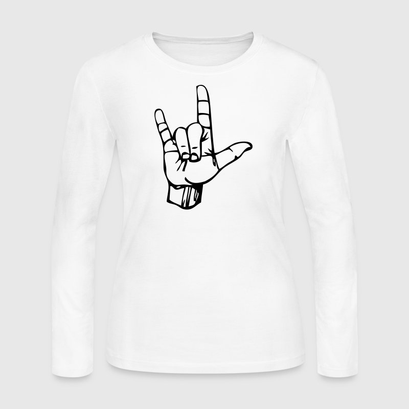I Love You Sign Language Long Sleeve Shirts - Women's Long Sleeve Jersey T-Shirt
