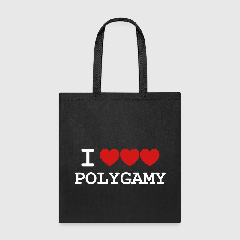 i heart polygamy free love fun sex hippie Bags & backpacks - Tote Bag