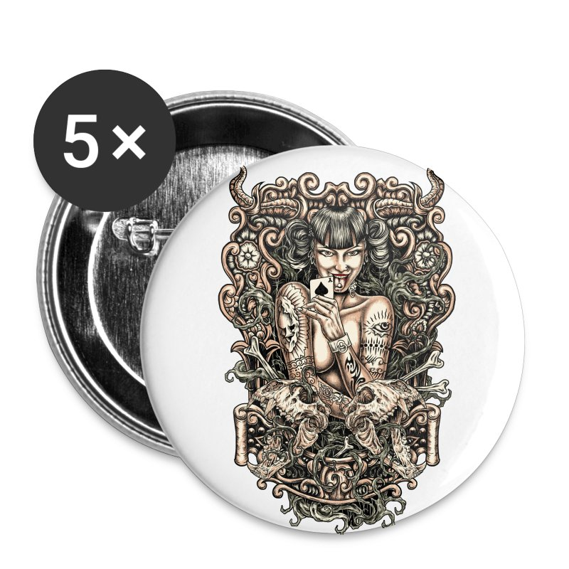 Tattooed Evil Girl - Large Buttons