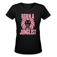 Women's T-Shirts ~ Women's V-Neck T-Shirt ~ Born A Junglist Ladies V Neck