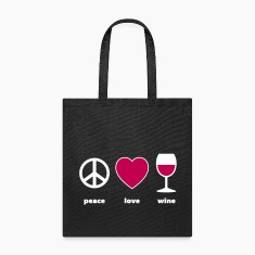 Peace Love Wine text Bags & backpacks