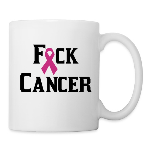 Fuck Cancer White Mug Pink Ribbon - Coffee/Tea Mug