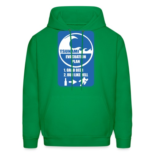 Tsunami evacuation plan, grab beer, run like hell - Men's Hoodie