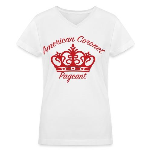 Velvety Print Women's Logo T-Shirt - Women's V-Neck T-Shirt